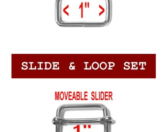 """100 SETS - 1"""" - Moveable Sliders and 1 inch Rectangular Loops, Nickel Plate or Antique Brass"""