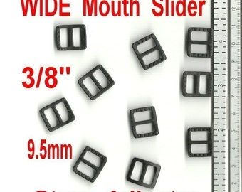 "20 PIECES - 3/8"" - Strap Adjuster, 3/8 inch, Polyacetal Plastic, Tri Bar, WIDE MOUTH - Black or White"