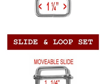 "10 SETS - 1 1/4"" - MOVEABLE Bar Slide and Loop SET, 1.25, Nickel Plate"