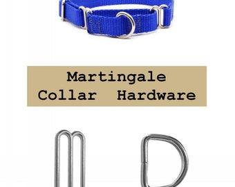"10 SETS - 1"" - Martingale Dog Collar Kits, 40 Pieces - Your Choice Nickel Plate or Black Finish"