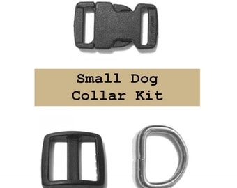 "10 SETS - 3/8"" - Small DOG Collar Kit - With or With Out Keepers - Black or White"