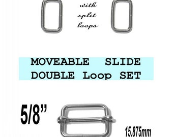 """10 DOUBLE Loop SETS - 5/8"""" - Moveable Sliders and 5/8 inch Rectangular Loops, Nickel Plate"""