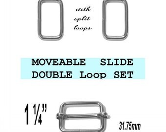 "5 DOUBLE Loop SETS - 1 1/4"" - Moveable Slide and Rectangular Loops, Nickel Plate, 1.25 inch"