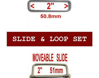 """5 SETS - 2"""" - Moveable Sliders and 2 inch Rectangular WELDED Loops, Nickel Plate"""