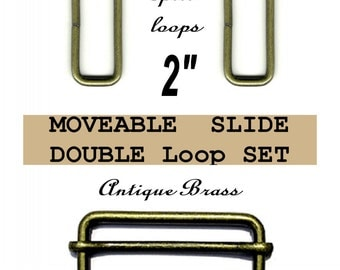 """5 DOUBLE Loop SETS - 2"""" - Moveable Sliders and 2 inch Rectangular Loops, Antique Brass"""