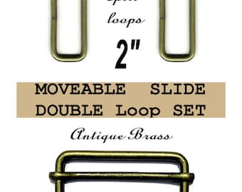 """10 DOUBLE Loop SETS - 2"""" - Moveable Sliders and 2 inch Rectangular Loops, Antique Brass"""