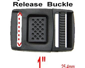 "10 Buckles - 1"" - Adjustable CENTER Release Strap, 1 inch, Clasp Clip, Polyacetal Plastic - BLACK or WHITE"