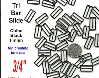 50 PIECES - BOW TIE Slide Adjuster - Black Metal or Nickel Plate - 3/4 inch - Raised Center Bar