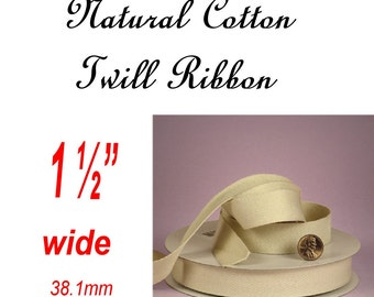 "BULK 10 Yard Reel - 1 1/2"" - Natural Cotton Twill Ribbon, 1.5 inch"