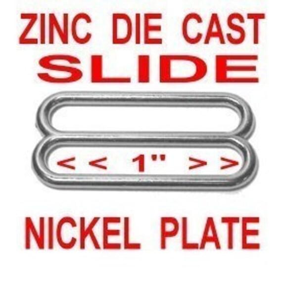 "100 PIECES - 1"" - Metal ZINC Diecast Slide, Tri-bar Buckle Purse Strap Adjuster - Nickel Plate, Black or Antique Brass"