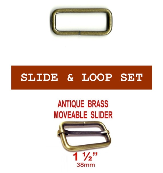 "20 SETS - 1 1/2"" - Slide and Loop SET, MOVEABLE Tri Bar, Antique Brass Finish, 1.5"