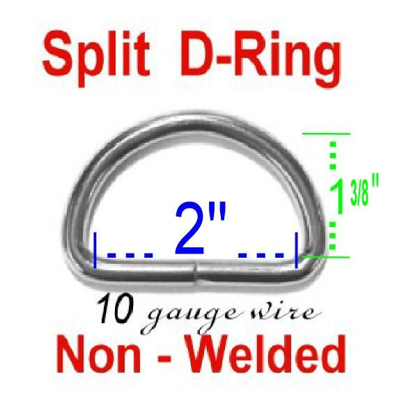 """50 PIECES - 2"""" - Split D Rings, 2 inch, 50.8mm, Heavy Duty, NON welded, NICKEL Plated"""