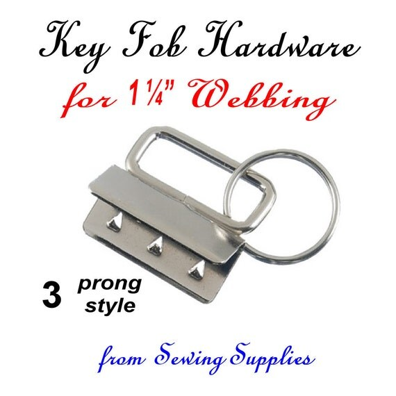 12 Sets - 3 Prong, KEY FOB HARDWARE, 1.25, 1 1/4 inch, Nickel Rectangular Top, 24 pieces
