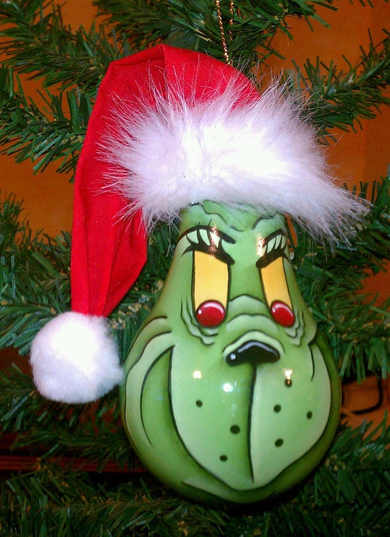 Light bulb ornaments - Handpainted Grinch Recycled Lightbulb Christmas By Postalmom1987