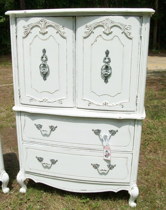 Shabby Chic Cottage White Armoire Wardrobe Hutch by ...