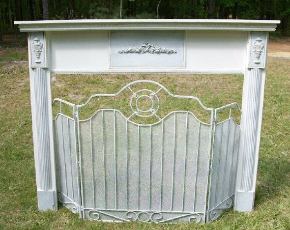 Shabby White French Fireplace Mantle With Shabby Fireplace Screen