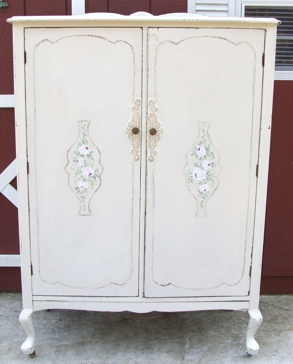 Shabby Cottage Chic Vintage Wardrobe Closet With Handpainted