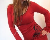 Black Rose Tunic / Mini Dress, more colors available, petite and plus sizes