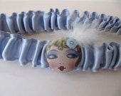 Blue bridal garter, Flapper girl, wedding, prom, silk satin, Vintage inspired, 1920s flapper button, Something Blue for brides to be