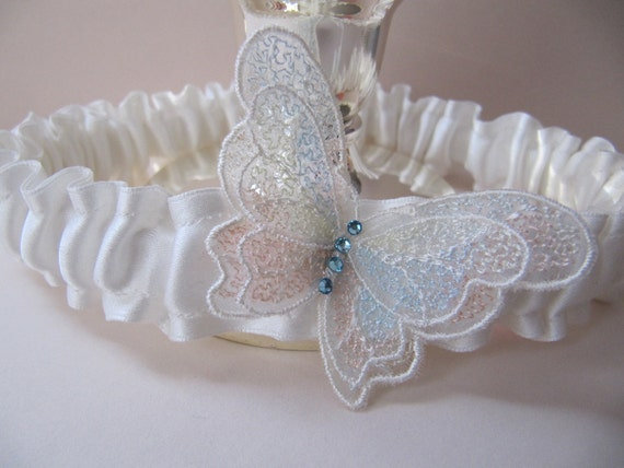 Ivory wedding Garter, Butterfly garter for brides, Something Blue, for Wedding or Prom with Swarovski crystals