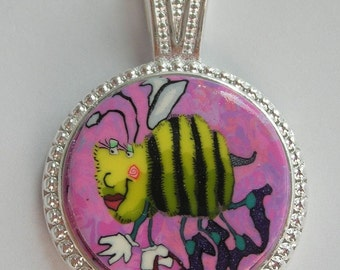 Polymer Clay Pendant Bumble Bee