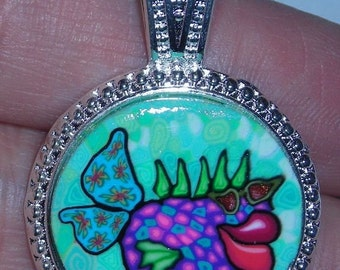 Polymer Clay Pendant 15-20mm Cool Fish