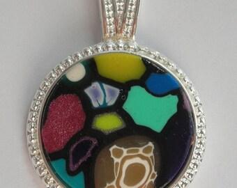 Polymer Clay Pendant 15-20mm Mosaic