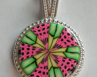 Polymer Clay Pendant 15-20mm Pink and Green Design