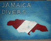 Wood sign carved-JAMAICA DIVERS