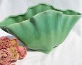 SALE  Vase Fan Shaped Green Vase with Scalloped Edge U.S.A. 10 Dollar Savings