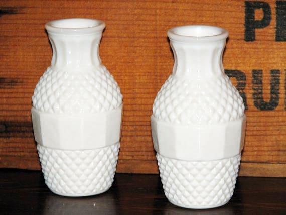 Milk Glass Vases Petite Set Vintage