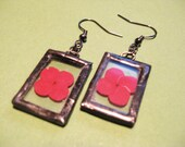 SALE - red - earring - real flower - glass - drop - dangle - black - chain - small - hawaii