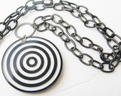 mod necklace - bullseye - target necklace - black and white - pendant - statement necklace - recycled
