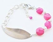 leaf bracelet - statement bracelet - pink bracelet - silver leaf - large bracelet - metal bracelet - bead bracelet - fuschia