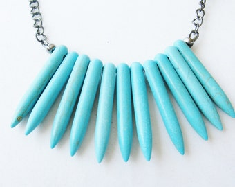 bohemian spike necklace - spike necklace - turquoise necklace - statement necklace - fringe necklace - tassel necklace
