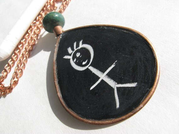 chalkboard - necklace - copper - long - statement - draw - art - large - jumbo - chain - pendant - black - paint