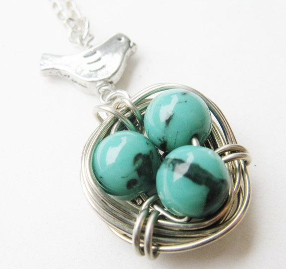 bird nest - necklace - blue - silver - pendant - chain - bird - sparrow - swallow - chain - bead - turquoise