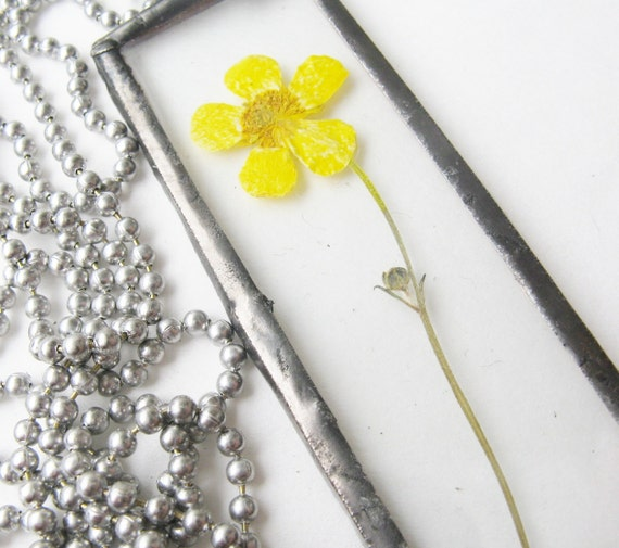 yellow - real flower - necklace - pendant - chain - buttercup - long - statement  - large -