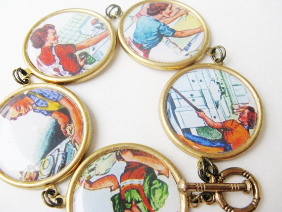 1950's - housewife - bracelet - housework - feminist - brass - statement - laundry - 1960's - mom - iron