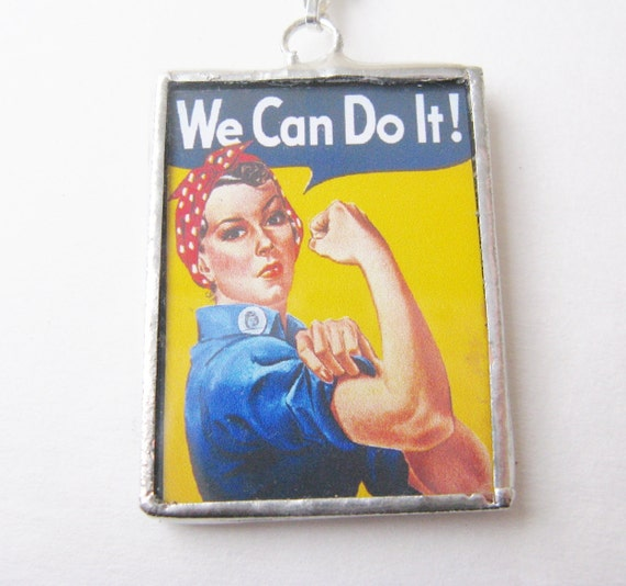 Rosie the Riviter necklace  - We can do it - pendant - necklace - pinup - chain - war -