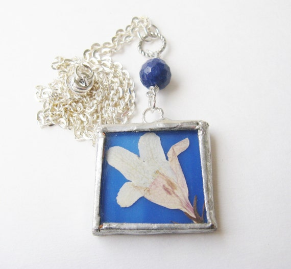 real flower necklace  - white flower necklace - white and blue - pressed flower necklace -