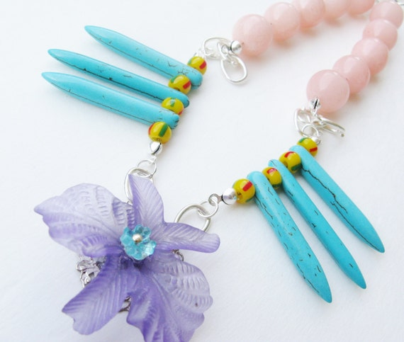 flowered spike necklace  - statement necklace - multi strand  - bib necklace - spike necklace - turquoise necklace