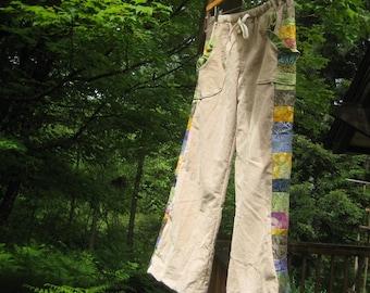 Custom...Patch Pocket RETREAT Pants for WOMEN...denim, corduroy, cotton/linen blend and patchwork