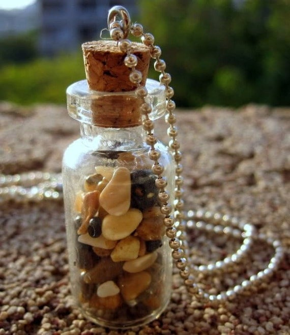 Vial Necklace Filled With Tiny Genuine Sea Of Galilee Stones