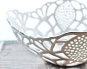 Small Porcelain Lace Bowl with Platinum