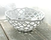 Hand-Carved Porcelain Lattice Bowl