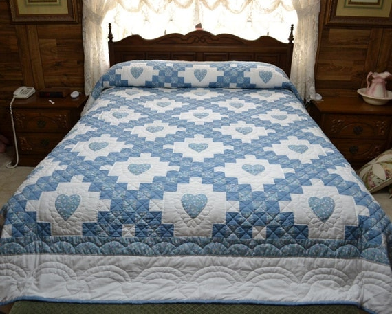Queen Size Hand Quilted Double Irish Chain With Hearts
