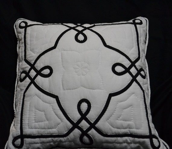 Hand Quilted,  Pillow Cover, Black and White Pillow, Handmade, Fiber Art, Quilting