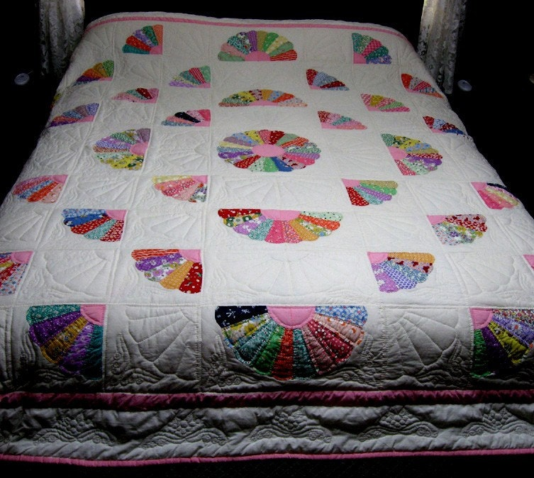 Grandmother S Fan Hand Quilted Queen Size Quilt
