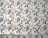 1/2 yard music/notes/treble clefs black/beige on ivory quilt fabric